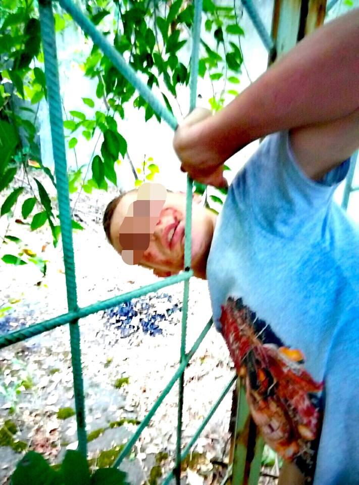 Грабитель-неудачник застрял головой в заборе (фото)