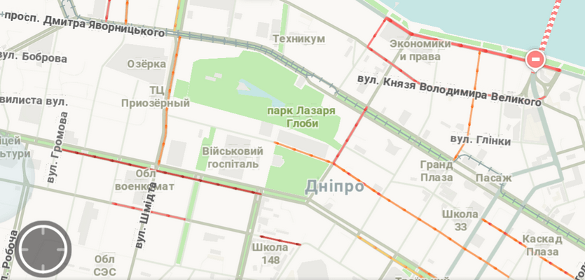 Утренние пробки на дорогах Днепра
