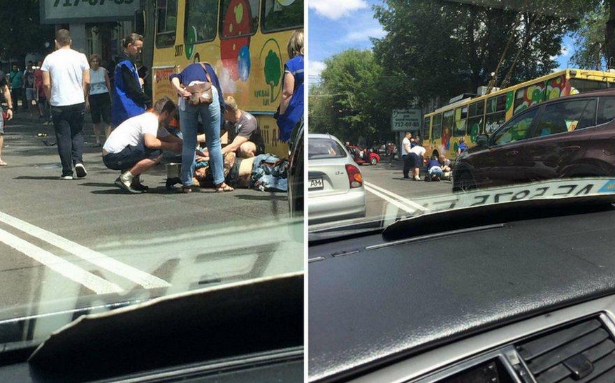 "Жесткое ДТП в Днепре: девушка за рулем ""Audi"" сбила мотоциклиста (фото)"